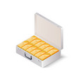 case full gold bars isometric vector image vector image