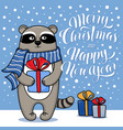 christmas and new year card with standing raccoon vector image vector image