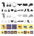Clothes and accessories flat icons in set