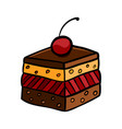 colorful cute cherry cake on white background vector image