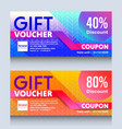 colorful gift voucher certificate coupon design vector image vector image