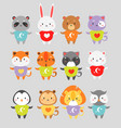 cute animals flat set little vector image vector image