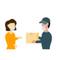 delivery man in face mask gives a box to woman vector image