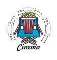 director seat with popcorn snack vector image vector image