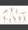elderly man character exercising set healthy vector image vector image