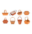 empty wicker baskets set isolated containers icons vector image vector image
