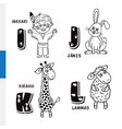 finnish alphabet native american rabbit giraffe vector image vector image