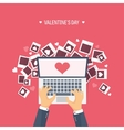 Flat background with photos vector image