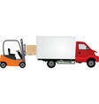 forklift loading container to delivery truck vector image vector image