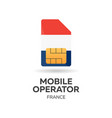 france mobile operator sim card with flag vector image vector image