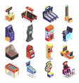 game machine isometric icon set electronic vector image