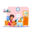 Girl playing with home cat robot Robotics vector image vector image