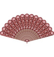 hand fan with floral pattern vector image