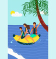 happy family riding on inflatable banana on sea vector image vector image