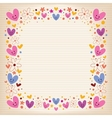 hearts and flowers retro frame vector image vector image