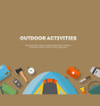horizontal banner camping and tourism on an vector image