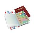 international passport with slovenia visa sticker vector image vector image