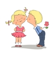 kissing boy and girl vector image vector image