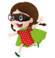 little girl wearing cape and mask vector image vector image