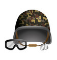 military helmet and goggle and dog tag plates vector image