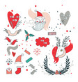 new year design elements set santa claus and vector image