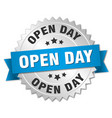 open day round isolated silver badge vector image vector image