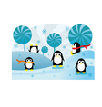 Penguins in snow vector image
