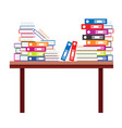 pile of books and document file folders on a vector image vector image