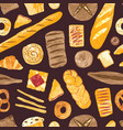 seamless pattern with delicious breads sweet vector image vector image