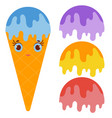 set ice cream balls of yellow red purple blue vector image