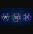 set of batterfly glowing neon signs in round vector image vector image