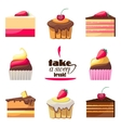 Set of delicious biscuits Yummy cupcakes donuts vector image vector image