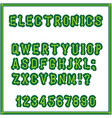set of letters of the style of the printed vector image