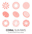 set of sunburst rays of sun in trendy coral color vector image vector image
