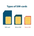 Set of three types sim cards vector image