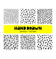 set six hand drawn ink seamless patterns vector image