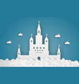 sky castle on cloud papercraft abstract and vector image