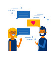 social media internet chat boy and girl talking vector image