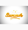 summer golden yellow word text with handwritten vector image