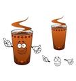 Takeaway cup of coffee cartoon character vector image vector image