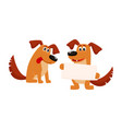 two dog characters sitting holding blank board vector image vector image