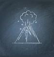 volcano eruption icon on chalkboard vector image
