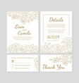 wedding invitation template set thank you card vector image