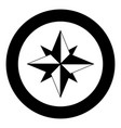 wind rose icon black color in circle or round vector image