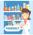 Woman Pharmacist Demonstrating Drug Assortment On vector image vector image