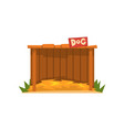 wooden doghouse with straw litter vector image vector image