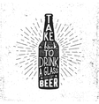 Hand drawn vintage label with beer bottle vector image