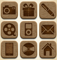 Wooden icons set vector image