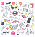 80s fashion hand drawn doodle with skateboard vector image vector image