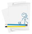 A paper with a sketch of a girl with a dog vector image vector image